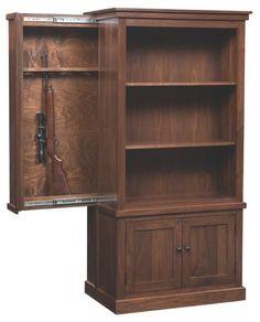 Cambridge Bookcase with Hidden Gun Cabinet Hidden Gun Safe, Hidden Gun Storage, Hidden Weapons, Hidden Shelf, Weapon Storage, Bookcase Storage, Shelving Racks, Door Storage, Storage Rack