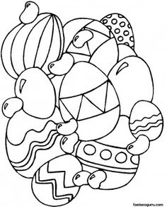 Print out Easter Eggs Coloring Page for kids - Printable Coloring Pages For Kids