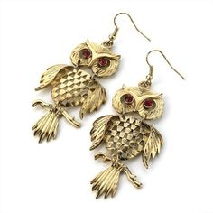 Minerva Collection Owl Drop Pierced Fashion Earrings Antique Gold  Price : £7.00 http://www.minervacollection.com/Minerva-Collection-Pierced-Fashion-Earrings/dp/B008AWHHLU