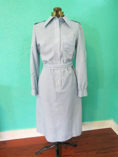 I Magnin Blue and White Striped Mid-Length Dress by AdoredAnew