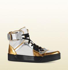 huge discount 77fd5 2d7a5 Gucci - new basketball metallic leather high-top sneaker 388015BJ8M08070  Chaussures De Sport Pour Homme