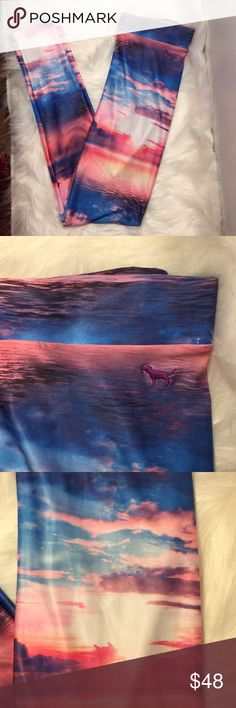 Rare beach paradise leggings VS Pink small Rare paradise beach leggings by Victoria's Secret's Pink size small.  Smooth to the touch.  Color is pink.  Paradise beach print.  Small iconic Pink dog on the left side. PINK Victoria's Secret Pants Leggings