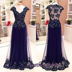 Beautiful v-neck sleeved deep blue organza modest prom dress with lace appliques, ball gown 2016 #coniefox