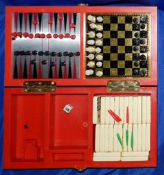 Vintage Travel Games Chess Checkers Cribbage Dominoes Backgammon 3A by PeggysVintageVariety on Etsy