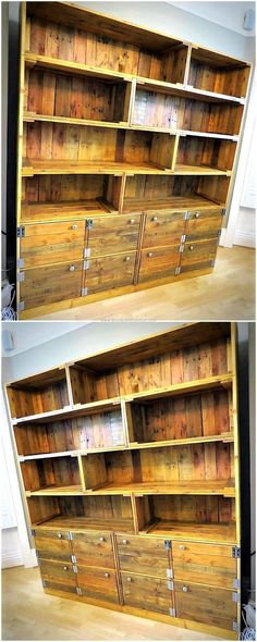 Now see an idea for shelving and drawers cabinet creation, it is good to copy for the TV launch because some things need to be displayed there like the decorative items and they can be placed in the upper portion of the cabinet. The lower area with the doors is for storing items.