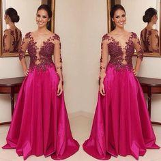 2016 Saudi Arabia Elegant Lace Appliques Prom Dresses Sexy V Neck Long  Sleeve Party Gowns Floor a121e6821e4c