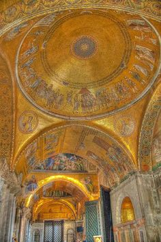 Golden Mosaics at the St Mark's Basilica Venice Italy