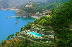 Porta Rocca Hotel on the Cinque Terre, Italy - we were hiking this trail when they were building this pool. It's incredibly beautiful.