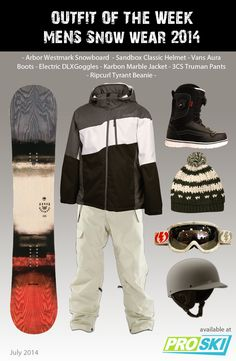 OUTFIT OF THE WEEK - Mens Snow Wear 2014 available at PROSKI #snowwear #snowboard #snowjacket #gear #snowgoggles #snowboardboots #beanie #helmet #snowtrends #outfit