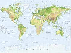 Standard Relief World Map wallpaper | World Map Wall Mural