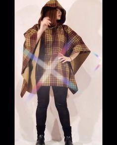 Wool Poncho, Plaid Scarf, Woman, Fashion, Moda, Fashion Styles, Women, Fashion Illustrations