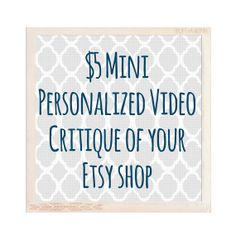 Mini Personalized Video Shop Critique for Etsy Sellers to Help Teach How To Optimize Titles Tags and Listing Descriptions for Google SEO