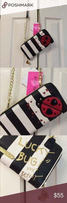 Betsey Johnson wallet w/ string , cross body NWT ADORABLE ! Red Ladybug MSRP 75.00 NWT Betsey Johnson Bags Wallets