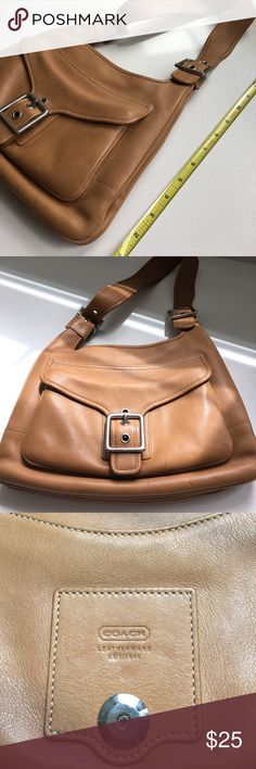 Coach handbag - tan color Authentic Coach handbag. Tan w/ silver hardware. Pre-loved condition, but this bag, especially the leather, is still in great shape. All stitching is perfectly intact. No wear on the leather, there are a few pen marks on the exterior (see photos). A good leather cleaner may take it off, I haven't tried. Features include front pocket with magnetic buckle, large zipper pocket on inside and another open pocket on back side of the purse. Coach Bags Shoulder Bags