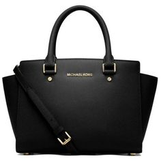 Michael Michael Kors Black Selma Medium Top Zip Satchel found on Polyvore featuring bags, handbags, purses, bolsas, black, satchel bag, satchel style purse, black bag, satchel purse and zip top purse