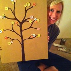Button Tree, this would be a neat baby shower idea, have everyone bring buttons and glue them on the tree!