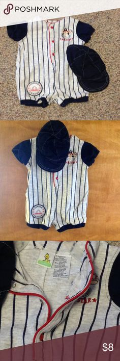 6 - 9 months little boy baseball outfit with hat Sesame Street Clothes  4 snaps in front,  4 snaps for diaper changing area. 6-9 months,  all star Baseball 1 piece outfit for boys with cap.   Junior League All- Star Patch on the lower right thigh.   The outfit looks brand new /unworn.  the cap is wrinkled.  This outfit has been stored in a smoke free, pet friendly home Sesame Street One Pieces Bodysuits
