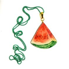 Watermelon Slice, Summer Fruits, Watercolor painting, Cool, Acrylic,... ($28) ❤ liked on Polyvore featuring jewelry, necklaces, green pendant, long pendant necklace, green pendant necklace, plastic necklace and acrylic necklace