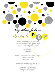 Mint and gold ready to pop baby shower invitation printable invite yellow gray black silver ready to pop baby shower invitation printable invite boy or girl by filmwisefo