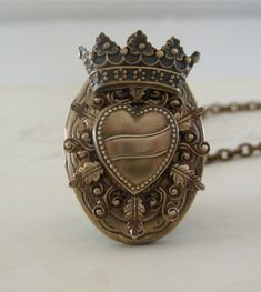 Locket Necklace - Steampunk Vintage Locket Heart and Crown Handmade Necklace - Queen of Hearts Going Gaga - Brass. $54.00 via Etsy.
