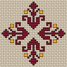 Small Decorative Motif cross stitch pattern Small pattern of decorative flowers in wine red and light tangerine colors.Suitable for biscornu and other crafts projects. Cross Stitch Cards, Cross Stitch Borders, Cross Stitch Flowers, Cross Stitch Designs, Cross Stitching, Cross Stitch Patterns, Folk Embroidery, Hand Embroidery Designs, Cross Stitch Embroidery