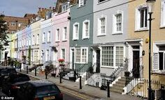 Houses like these in Kensington and Chelsea have seen the biggest price rise with an average of a month since the credit crunch Kensington And Chelsea, Chelsea London, Townhouse Exterior, Liberty Blue, London Boroughs, Victorian Terrace, Street House, London Street, House Colors