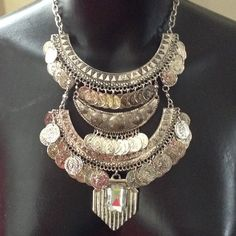 Bohemian style necklace Silver metal color Jewelry Necklaces