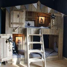 10 Fabulous Boys' House Beds Make a fantastic kids room and add a spark of fun with a house bed. From the outside, like a child's house with folding doors and inside a cozy bed. Wooden Bunk Beds, Cool Bunk Beds, Bunk Beds With Stairs, Toddler Bunk Beds, Kid Beds, Loft Spaces, Small Spaces, House Beds For Kids, Murphy-bett Ikea