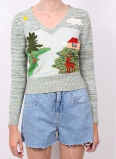 Knit sweater that tells a story.
