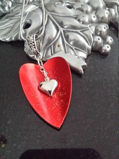 Sparkling  Red Spoon Heart Necklace by MemoriesOfSilver on Etsy