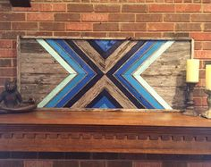 Black And White Chevron Reclaimed Wood Wall by DustySquareDesigns