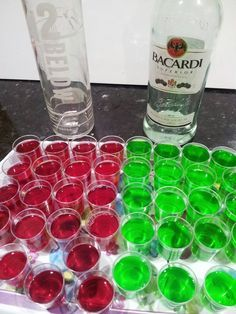 Jarrah Jungle: Recipe: Raspberry Vodka and Lime Rum Jelly Shots