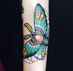 Traditional moth tattoo done at Nautilus Tattoo of Newington, Connecticut! #traditionaltattoo #moth #mothtattoo