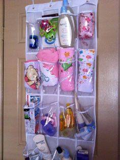 Organize baby stuff with a door shoe rack. Great for all those loose, smaller items. - another gift idea Baby Storage, Preparing For Baby, Baby Supplies, Everything Baby, Baby Needs, Baby Time, Baby Bumps, Cool Baby Stuff, Baby Fever