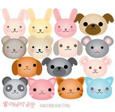 Animal Face Clip Art San Jones' Kawaii Animal by SanJonesDigi