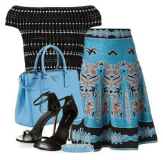 A-line Intarsia Skirt by ljbminime on Polyvore featuring polyvore fashion style Alexander McQueen M Missoni Prada