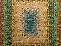 Golden Multicolor Blooming Nine Patch Quilt