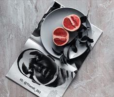 A flatlay made using grapefruit and and a magazine Grapefruit, Magazine, Magazines, Warehouse, Newspaper