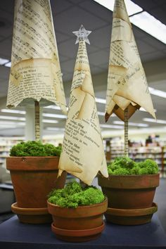Christmas Display... paper christmas trees... (I'd also use green Distress Ink to burnish the paper and paint the terra cotta pots)