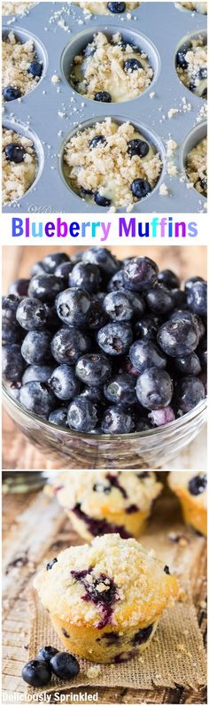 Breakfast Muffin Recipes : The BEST Blueberry Muffins Recipe! I used almond milk in place of buttermilk. Homemade Blueberry Muffins, Blueberry Recipes, Breakfast Recipes, Dessert Recipes, Breakfast Muffins, Breakfast Ideas, Delicious Desserts, Yummy Food, Gula