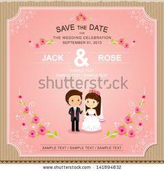 Cute Pink rose wedding invitation card template