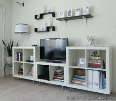 Entertainment Center makeover with white Expedit bookshelves, Capita legs from IKEA silver black mod Moroccan living room makeover