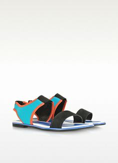 Kenzo Tao - Flache Sandalen aus Nabuck und Neoprene im Color Block Design
