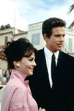Natalie Wood with boyfriend Warren Beatty, 1963.
