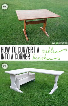 How to Convert a Table into a Corner Bench- Before and After   www.blackandwhiteobsession.com #before_and_after #ba #salvaged #DIY #furniture