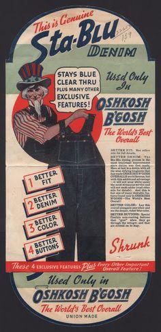 Oshkosh B'Gosh's Sta-Blu Denim Pocket Flasher (Front), early 1940's