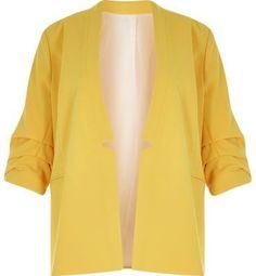 River Island Womens RI Plus yellow ruched sleeve blazer - $60.00