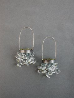basket chandelier hanging dangle clear sterling glass earrings little black dress sculptural earring jaime jo fisher modern art jewelry. $250.00, via Etsy.