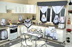 Itens para cozinha em bordado patchwork e tear - galinha