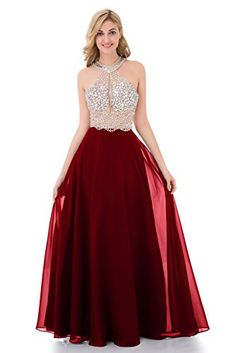 dccccd4de2 YuNuo Sparkly Crystal Beading Prom Dresses Long 2018 Sexy Open Back Party  Ball Gown Scoop Bridesmaid Dresses Burgundy-US8